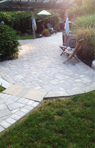 White Paver Patio Design by Elegant Earth Solutions